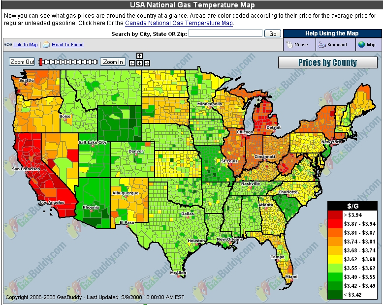 gas price map is noteworthy and the decline of real men