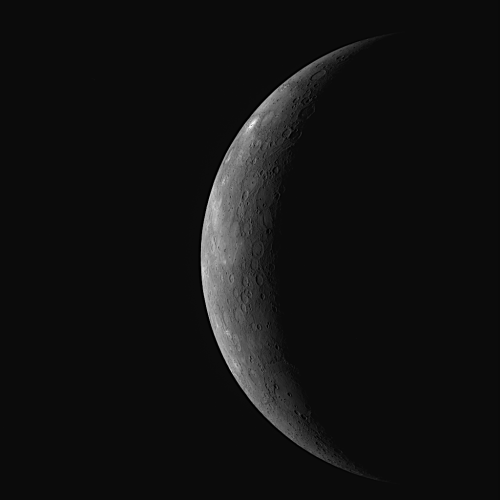 This WAC image is one of 11 viewed through different narrow-band color filters, the set of which will enable detailed color studies of this newly imaged area. In addition, the Narrow Angle Camera (NAC) acquired a high-resolution mosaic of most of this thin crescent view of Mercury at a resolution better than 0.5 kilometers/pixel (0.3 miles/pixel) that will enable the MESSENGER team to explore this newly imaged region of Mercury's surface in more detail. Images acquired during the flyby are currently still being transmitted to Earth, and the MESSENGER team is busy examining each of the 1223 as it arrives